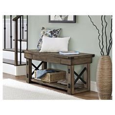 Altra Furniture Altra Wildwood Wood Veneer Entryway Bench in Rustic Gray at The Home Depot - Mobile Rustic Entryway, Modern Entryway, Rustic Bench, Entryway Decor, Entryway Furniture, Entryway Ideas, Modern Closet, Shelf Furniture, Entrance Ideas