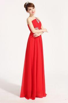 One Shoulder Pleated And Rhinestone Bridesmaid Dress