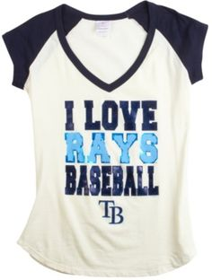 Support your favorite MLB team in the Tampa Bay Rays T-Shirt that features short sleeves, V-neck and an I Love Rays Baseball screen print on the front. Solid construction that never goes out of style along with the Rays baseball team spirit. GO RAYS!