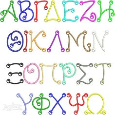 """Greek Fun Dots Embroidery Font. Size: 2"""", 4"""" and 6"""" sets"""