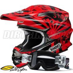Shoei Vfxw Motocross Helmet - Dissent Tc1 - Red - Free Smith Goggles - Shoei Vfxw - 2012 Shoei Helmets - 2012 Motocross Gear