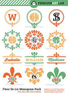 Fleur De Lis SVG Monogram Frames Pack (svg, eps, dxf, png, studio3) Design Vinyl Cut Files for Cutting Machines, Cricut, Silhouette