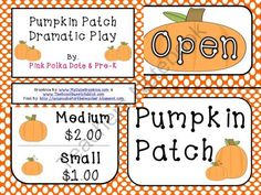 Pumpkin Patch Dramatic Play Sign Kit from PinkPolkaDotsandPre K on TeachersNotebook.com (10 pages) - Pumpkin Play Dramatic Play Sign Kit FREEBIE