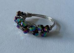 Color Plated Bicone Bead Cluster Ring