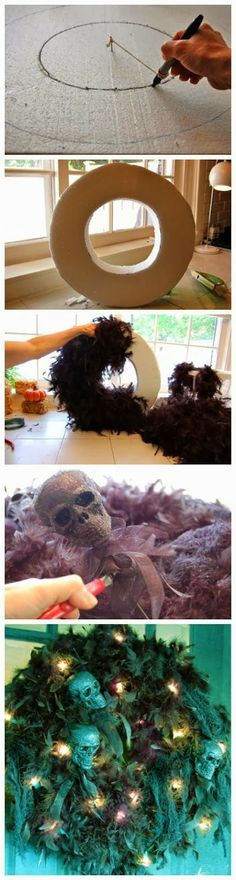 Halloween Skull Wreath....I like this idea but I think I would make the lights purple and / or orange.