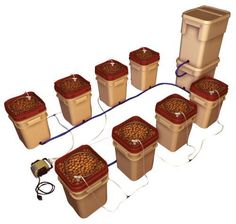 The General Hydroponics WaterFarm 8 Pack is a plug-n-play 8 bucket self-contained drip hydroponic system that is versatile & modular, includes everything needed to grow.