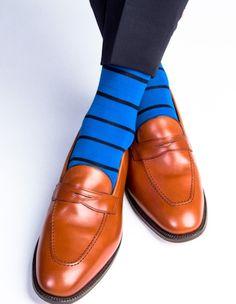 Dapper Classics Royal Blue with Navy Stripe Sock