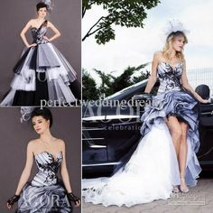 Wholesale Unique Black and White Front Short Back Long Wedding Dress Ruffled Tulle Skirt Garden Bridal Wedding Gown Lace Dress, Free shipping, $176.97/Piece | DHgate Mobile