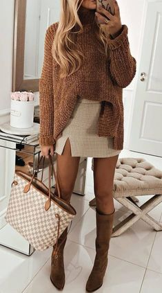 24 Trendy Winter Outfits Casual Cold Weather in 2019 Casual Winter Outfits, Cute Fall Outfits, Trendy Outfits, Autumn Outfits, Fall Fashion Outfits, Women Fall Outfits, Winter Dress Outfits, Outfit Summer, Sweater Outfits