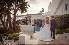 Newly weds Anna and Christoffer arrive at Cafe del Mar Marbella to start the celebrations on the beautiful terrace of this wedding venue.Wedding photography by Kris Mc Guirk.Destination weddings with style. Destination Weddings, Beach Club, Newlyweds, Terrace, Celebrations, Wedding Venues, Spain, Anna, Wedding Photography