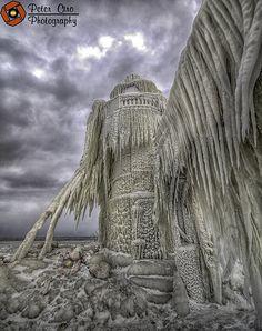 St. Joseph Michigan Lighthouse Ice Covered