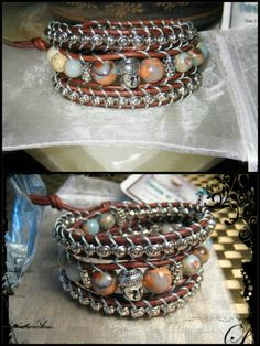 """These new Alabaster Stones are just GORGEOUS! Leather Triple Wrap """"Buddha"""" Bracelet www.eyegotchacovered.info"""