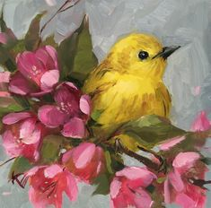 """Yellow Warbler & Blossoms"" original fine art by Krista Eaton Bird Painting Acrylic, Watercolor Bird, Watercolor Paintings, Bird Artwork, Bird Drawings, Yellow Art, Art Design, Animal Paintings, Art Pictures"