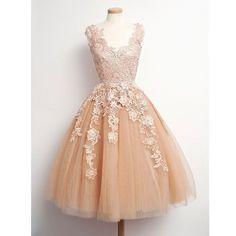 lace prom dress, short prom dress, champagne prom dress, vintage prom dress…