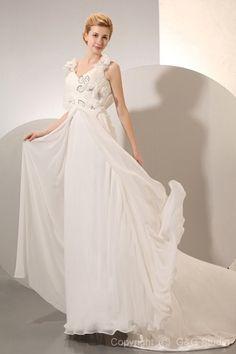 Court Zipper Waist Empire Crystals/Flowers/Ruched/Beading Elegant Floor-length Train Natural V-neck Chiffon Ivory Sleeveless Wedding Dress
