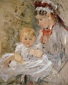 1880 Berthe Morisot (French Impressionist, 1841-95) ~ Julie with Her Nurse