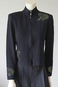 ST-JOHN-EVENING-Santana-Black-Green-Frog-Stud-Crystals-Jacket-Knit-Sz-4-6-RARE Rare Clothing, Ebay Sale, Green Frog, Sweater Design, Sweater Jacket, Crystals, Clothes For Women, Knitting, Coat