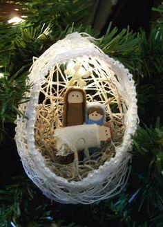 String Ornament with Nativity Scene