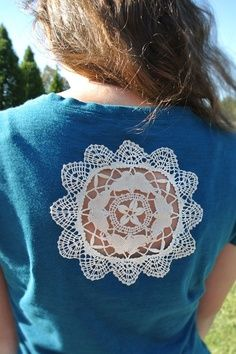 Sew vintage doily onto sweater or tee shirt back.  THEN cut out the excess fabric no longer needed; makeover.  Upcycle, Recycle, Salvage, diy, thrift, flea, repurpose, refashion!  For vintage ideas and goods shop at Estate ReSale & ReDesign, Bonita Springs, FL
