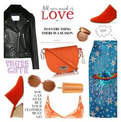 """Dreamsicle: Pops Of Orange"" by violet-peach ❤ liked on Polyvore featuring Ted Lapidus, Amanda Wakeley, Mercedes Castillo, Nobody Denim, Sensai, Wall Pops!, Gucci, Karl Lagerfeld, orangeoutfit and popsoforange"