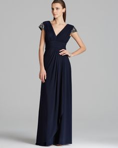 Boutique Gown - Beaded Cap Sleeve V Neck Jersey | Bloomingdale's