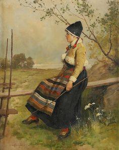 Axel Hjalmar Ender (1853-1920): Vallflicka