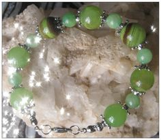 Beautiful Handmade Silver Bracelet with Original Old Green Jade by IreneDesign2011 on Etsy