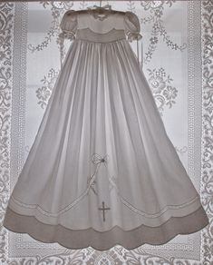 Martha Pullen Christening Gowns | Double-Scalloped Madeira Christening Dress & Slip