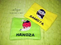 Green and yellow towels with the names of our two customers. For more of our handmade crafts Go to  https://www.profiletree.com/unique-pillows  #crafts, #pillows, #cushions, #towels, #handmade, #personalized, #bathrobe, #pillowcases,
