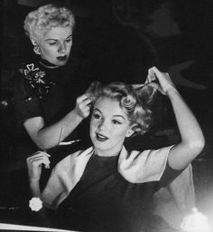 Marilyn Monroe and her hairdresser Gladys Rasmussen photographed by Andre De Dienes- c.1952