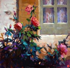 Roses outside my Window by Trisha Adams Oil ~ 30 x 30
