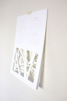 3 layer papercut calendar (can be stacked or displayed side by side) = I want!