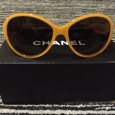 Yellow Chanel CH5229 Oversized Sunglasses Limited edition & rare yellow Chanel sunglasses, with patent leather temple, gray gradient lenses. Comes with box, case, pouch, and Chanel authenticity booklet. CHANEL Accessories Sunglasses