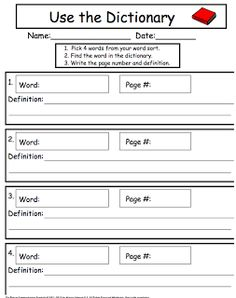 Dictionary Worksheets: Dictionary Guide Words Inferencing Worksheet For 2nd Graders    ,