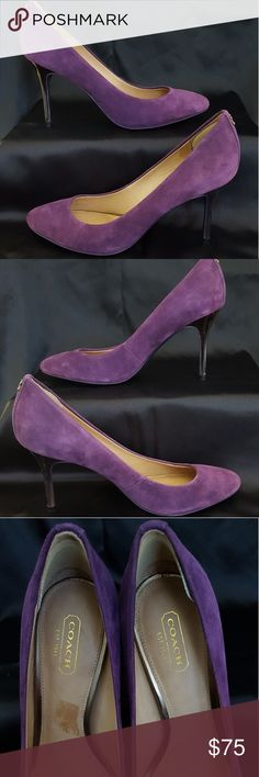 Coach Plum Suede Pumps Purple suede pumps by Coach. Round toe pumps. 3.5 inches tall. No scuffs or scratches. Light wear. EUC. Coach Shoes Heels