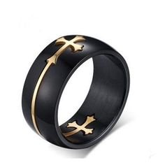 2017 popular non mainstream men titanium steel black cross ring stainless steel exquisite ring-in Rings from Jewelry & Accessories on Aliexpress.com   Alibaba Group