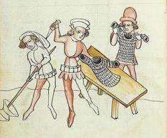 Medieval Life, Medieval Armor, Medieval Crafts, Medieval Paintings, Arm Armor, Medieval Manuscript, Illustrations, Panzer, 14th Century