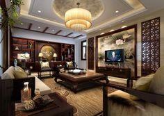 Chinese Living Room Wood Trim