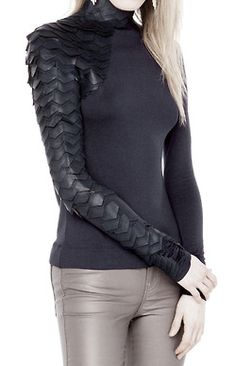 Scaled sleeve. WHY CAN'T I FIND THIS FOR SALE ANYWHERE? THEY HAVE A SHEER VERSION BUT NOT THIS!