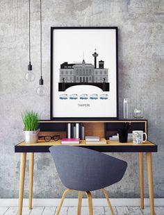 Modern illustration of Tampere with a Scandinavian touch. - - - - - cm - cm - cm - Your poster is posted securely, rolled Nashville News, City Art, Scandinavian Design, Finland, Designer, Illustration, Art Prints, Graphics, Home Decor