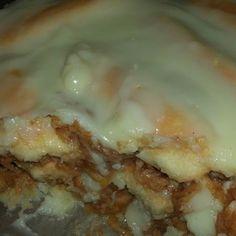 Almás-pudingos rakott piskóta Lasagna, Tiramisu, Ale, Ethnic Recipes, Sweet, Food, Candy, Ale Beer, Essen