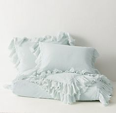 tattered ruffle duvet cover - probably in seafoam or light grey