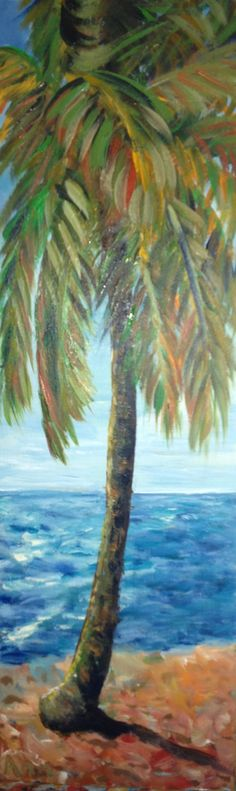 New Palm Tree Painting Acrylic Ocean 45 Ideas Palm Tree Art, Palm Trees, Palm Tree Paintings, Landscape Illustration, Landscape Art, Palm Tree Pictures, Decoupage, Hawaiian Art, Tropical Art