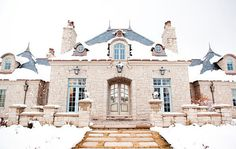 Decor de Provence - home exteriors - French castle, french chateau,  Lovely French home exterior-Like the style of the house not the stonework. Maybe in stucco
