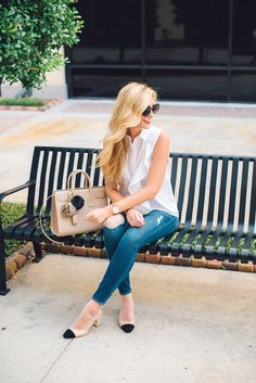 White ruffled button down + skinny jeans + slingback cap toe pumps