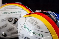 """Heroes In Heaven helmetpaint with Kimi and Vettel designs in a tribute theme to F1 heroes and KeepFightingMichael message.. painted to the """"Finstad"""" racingbrothers thanks for choosing me to be a part of this project... @michelfinstad #VettleVsRäikkönen #SebInRed #HeroesInHeaven #360gfx_com #JustForFun #KeepFightingMichael #helmetpaint #araihelmets #glasurit #iwata #anestiwata"""