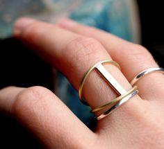 barra anillo oro moderno bar anillo anillo por museglass en Etsy