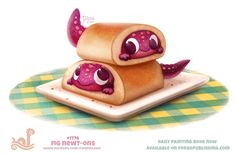 Daily Paint Fig Newt-ons by Cryptid-Creations on DeviantArt - Clou,clouer Cute Food Drawings, Cute Animal Drawings, Kawaii Drawings, Cartoon Art, Cute Cartoon, Animal Puns, Animal Food, Painted Books, Kawaii Art