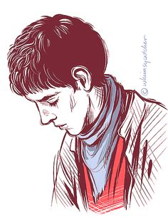 """Merlin fan art by Merlin fan art by WHIMSYCATCHING // """"Midnight scribble of Merlin! Decided to try the blue scarf & red shirt combo for the sake of some variety, hahaha..."""""""
