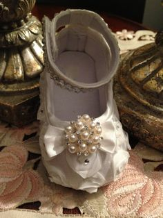 Baby First Walkers Beaded Christening Flower by LaBoutiqueBride, $45.00